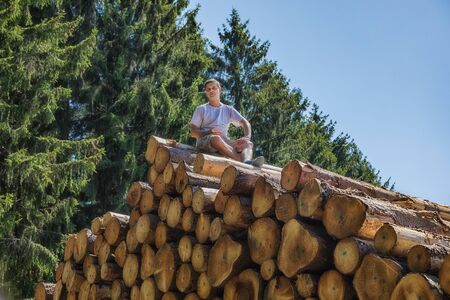 A man is sitting on a huge pile of wood. Stock Photo