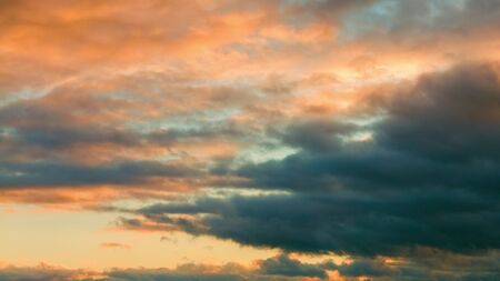 Evening sky with clouds, sunset, dusk