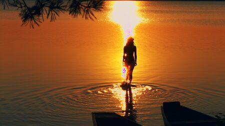 Beauty walking on water menstruation, orange