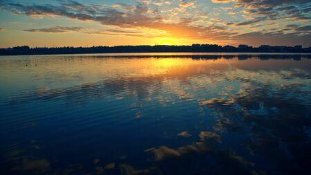 Sunrise over the lake - wide angle
