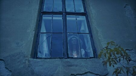 Haunted house, Scary scene. Dead bride locked in the creepy house. Фото со стока