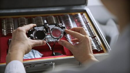 Tools for checking and correction vision a set. Ophthalmologist. medical, health, ophthalmology concept. Фото со стока