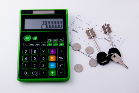rental: calculator, house keys, the rental price Stock Photo