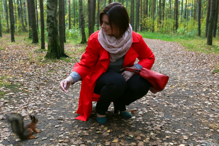 feeds: The girl in the red squirrel feeds