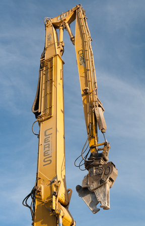 Christchurch, New Zealand - May 20, 2012: Stick part of excavator over blue sky background