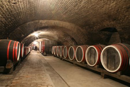 An old wine cellar with barrels photo
