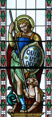 michael the archangel: Stained glass, Saint Michael, Church of Saint Roch, Kratečko, Croatia Stock Photo