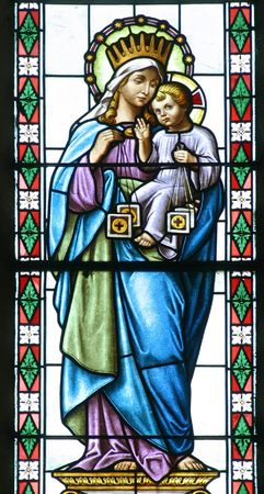 iconography: Virgin Mary and baby Jesus, Stained glass, Church of Saint Roch, Kratečko, Croatia