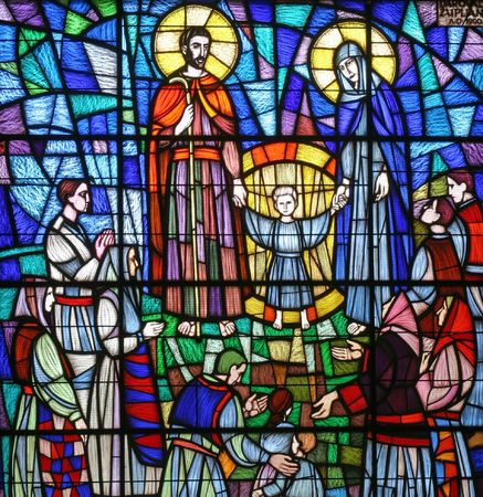 family church: Holy Family, Stained glass,The Church of St. Joseph, Klinča Sela, Croatia Stock Photo