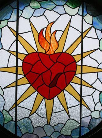 sacre coeur: Sacr�-C?ur de J�sus, le vitrail, le Sacr�-Coeur de J�sus �glise, Rakov Potok, Croatie