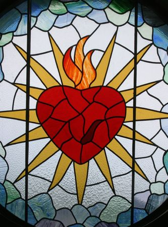 glass heart: Sacred Heart of Jesus, Stained glass,Sacred Heart of Jesus Church, Rakov Potok, Croatia