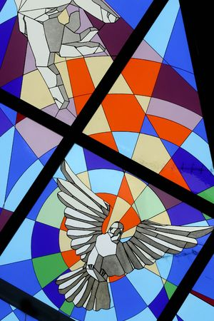 Holy Spirit Bird, stained glas in the Church of Blassed Aloysius Stepinac, Velika Gorica, Croatia Stock Photo - 5714530