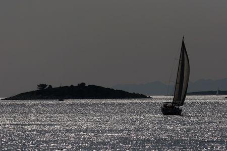 moonrise: Sailing in night Stock Photo