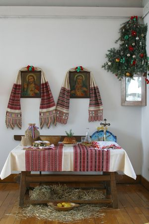 central europe: A nice dining table set for Christmas dinner in old countryhouse, central Europe -Croatia Stock Photo