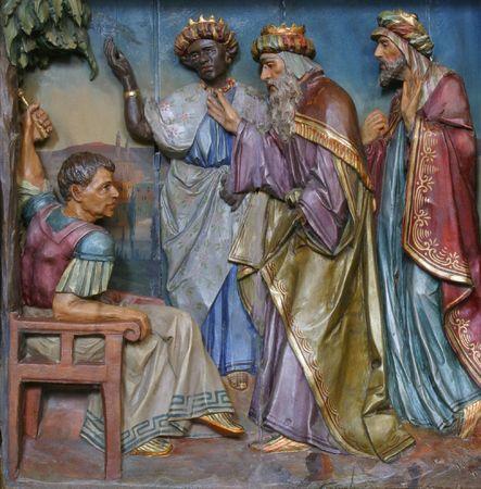 rois mages: Les trois Mages devant H�rode