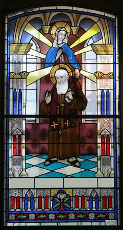 leopold: Stained glass with Saint Leopold Mandic