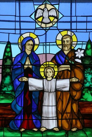holy family: Holy Family, Stained glass