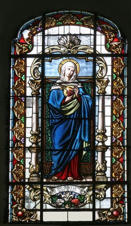 Stained glass with Virgin Mary photo