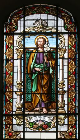 catholic stained glass: Stained glass with st. Joseph