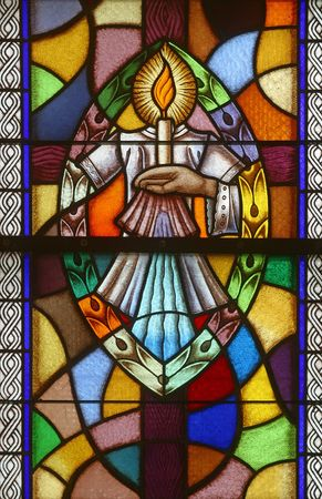 catholic stained glass: Baptism, Seven Sacraments, Stained glass Stock Photo