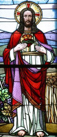 sacre coeur: Sacr� coeur de J�sus, verre de peinture