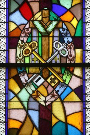 cresima: Vetro colorato di conferma, sette sacramenti,  Archivio Fotografico