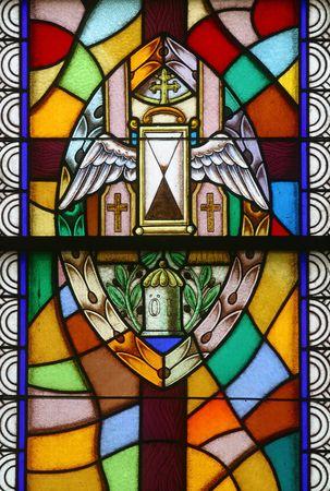valores morales: Vidrio de vidrieras de unci�n de los enfermos, siete de los sacramentos,