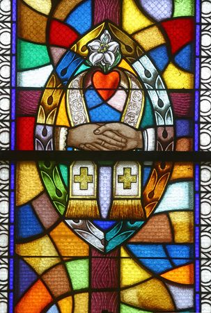 valores morales: Vidrio de vidrieras de matrimonio, siete de los sacramentos,