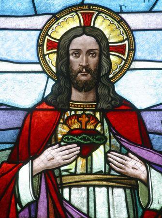 valores morales: Sagrado coraz�n de Jes�s, vidrio de vidrieras