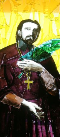 Stained glass with Saint Marko Krizin photo