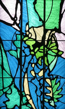 zagreb: A bright and colorful stained glass window in The Church of the Holy Cross, Zagreb, Croatia