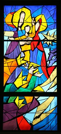 Nativity scene, stained glass Stock Photo - 10004947