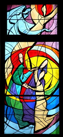 catholic stained glass: The death of st. Joseph