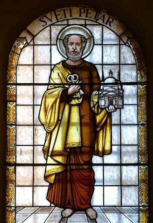 basilica of saint peter: Stained glass with Saint Peter