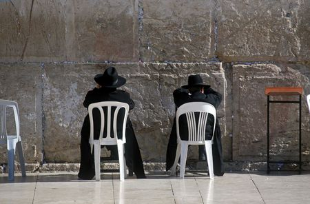hasidim: Jews praying at the Western Wall Stock Photo