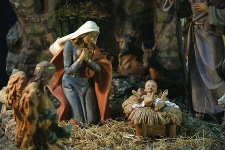 creche: Escena de la Natividad, Ein Karem Iglesia de la Visitaci�n Foto de archivo