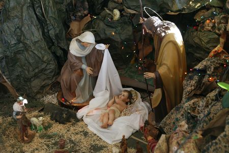 Nativity scene, Capernaum, The Church of the House of Peter