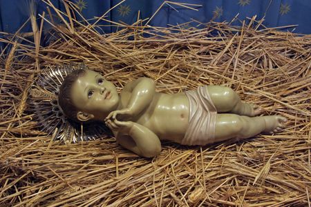 by catherine: A baby Jesus figure on Christmas, Church of St. Catherine, Bethlehem