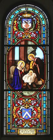 by catherine: Nativity scene, stained glass, Church of St. Catherine, Bethlehem