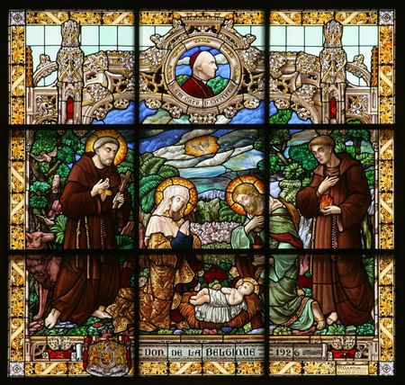 baby jesus: Nativity scene, stained glass, Church of St. Catherine, Bethlehem