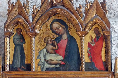 Virgin Mary with baby Jesus, St. Francis and St. Mary Magdalen
