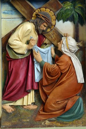 famous women: Veronica wipes the face of Jesus