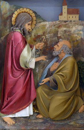 saint peter: Christ Handing the Keys to St Peter Stock Photo