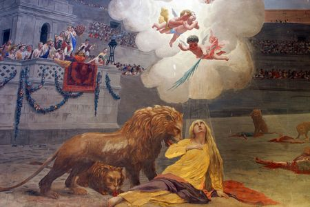 martyr: Mural depitcting the martyrdom of St. Euphemia  Editorial