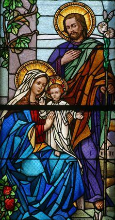 heilige familie: Farbigem Glas mit Heiligen Familie
