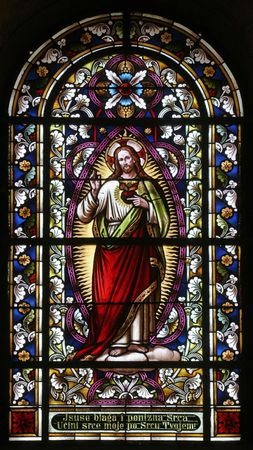 glass heart: Sacred Heart of Jesus, Stained glass