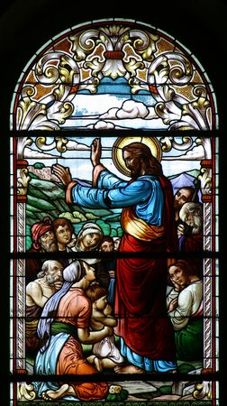 stained glass church: Sermon on the Mount