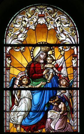 jungfrau maria: Maria mit Baby Jesus und Engeln Lizenzfreie Bilder