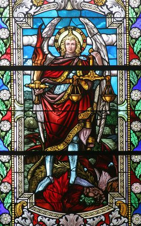 catholic stained glass: Saint Michael archangel