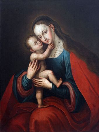 blessed virgin mary: Blessed Virgin Mary with baby Jesus Stock Photo